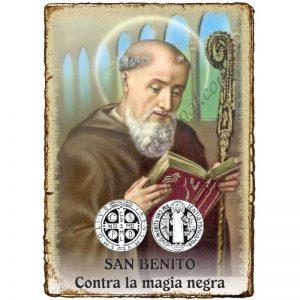 """Estampita """"Pergamino"""" - Contra la MAGIA NEGRA - SAN BENITO"""