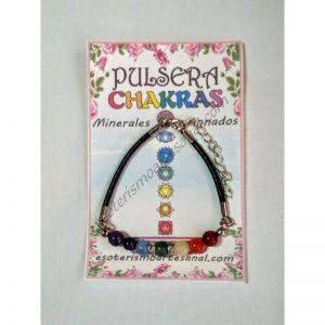 PULSERA - CHAKRAS - minerales - 6mm - cuero - 01