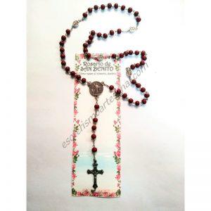 SAN BENITO - ROSARIO - Marrón claro - Con guía de cómo rezar el rosario