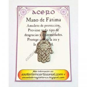 AMULETO ACERO - Mano de Fatima - 01